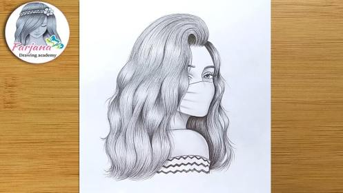 A Girl Wearing a Mask Pencil Sketch How to draw a