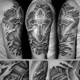 cross badass tattoos mens tattoo arm celtic 3d skin ripped fire around manly consuming knows effects everyone since