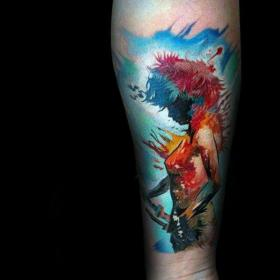 anime tattoo tattoos sleeve forearm manga cool male watercolor artistic base female character satisfied certainly pull rich choose leave