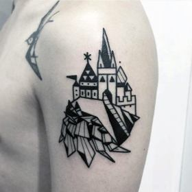simple arm tattoos castle tattoo guys cool upper mens masculine flawless yet pattern