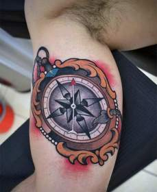 tattoos compass nice designs tattoo bicep arm guys mens ornate masculine awesome democracy