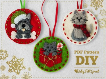 Christmas Pets Ornaments DIY felt pattern Needle Work
