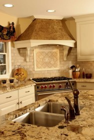 kitchen french hood corner country stove cabinets normandy decor tile traditional cooktops custom counter rooms vent colors backsplash