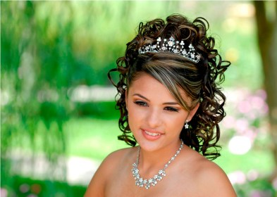 quinceanera hairstyles hair hairstyling tiara hairstyle curly updo sweet half messy bun long try give perfect hanging pk hairstylo woman
