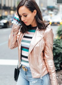 metallic jackets sydne jacket gold rose fall leather outfit shine adding summer sydnestyle trends outfits silver bloglovin wears marciano