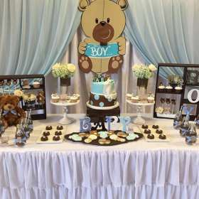 shower baby teddy bear themes party catchmyparty theme distintivos fiesta decorations