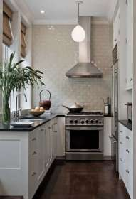 kitchen shaped kevin remodelista dakan wall ceiling remodeling townhouse tile kitchens architect subway york shape tiles via floor brooklyn way