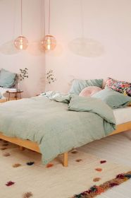 bedroom pastel room pink decor bedrooms urban outfitters duvet bedding bed walls cute eyelet stripe urbanoutfitters bohemian inspiration wall colors