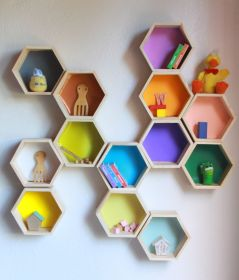 shelves hexagon wood shelf honeycomb floating hexagonal pine things five wooden paint etsy build any shelving woodcraftiing wide want height