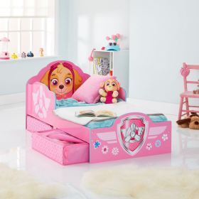 paw patrol bed toddler skye storage frozen mattress disney cars minnie beds hellohome furniture peppa underbed bedtime west mouse foam