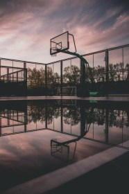 Wallpaper Basketball Court, Reflection, Water, Puddle