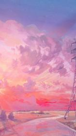 pink sunset illustration hd iphone aesthetic wallpapers desktop chebynkin arseniy laptop anime background backgrounds macbook 4k clouds cloud 1920 1366