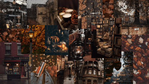 dark laptop cozy fall aesthetic academia wallpapers computer requested creator