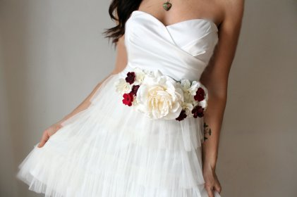 sash ivory flowers bridal bold accessories sashes bright onewed gown burlap