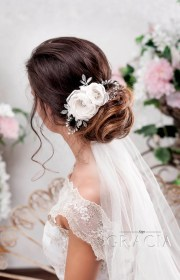 hair wedding bridal veil hairstyles half flower down updo spring hairstyle veils headpieces romantic summer topgracia elegant etsy champagne combs