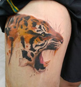 Tiger Thigh Tattoos Designs, Ideas and Meaning Tattoos