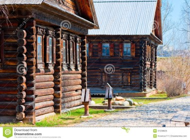 facades russian village wooden houses old style 31238025