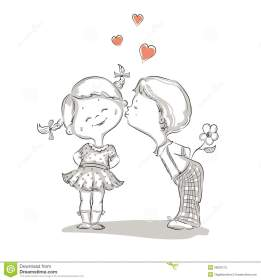 Hand Drawn Illustration Of Kissing Boy And Girl Stock