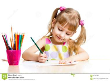 Kid Girl Drawing With Colourful Pencils Royalty Free Stock