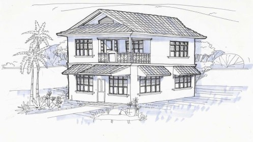 story drawing perspective houses simple modern storey treesranch building