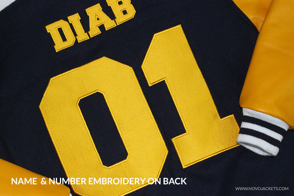 Numbers and Letters Embroidery on Back of Custom Letterman Jackets