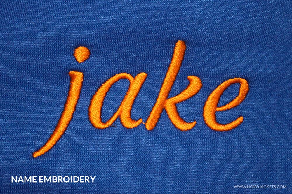 Name Embroidery Example Varsity Jackets