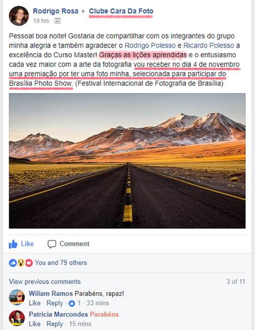Depoimento do Curso Avançado de Fotografia Cara da Foto: O Rodrigo recebeu uma premiação por ter uma de suas fotos selecionadas para participar de um Concurso Internacional de Fotografia: