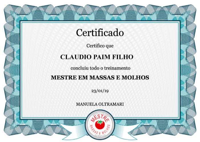 Certificado do curso Mestre em Massas e Molhos Italianos Manu Oltramari