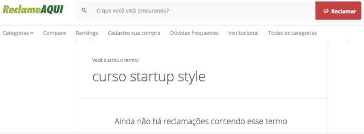 curso startup style reclame aqui startse