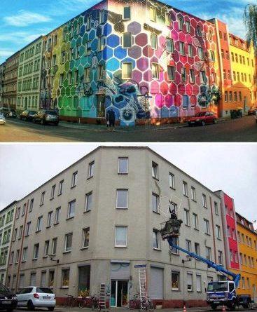 Дома, над которыми поработали уличные художники