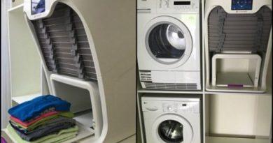 Машина, которая сушит, гладит и складывает чистое белье!