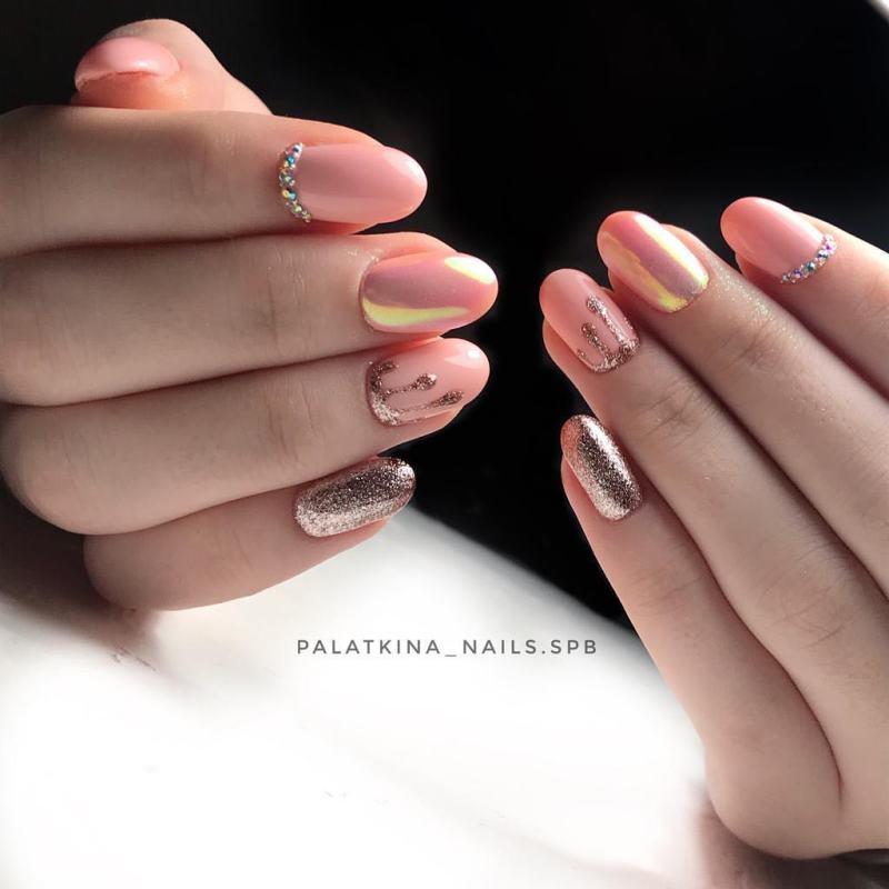 маникюр розовое золото фото_4