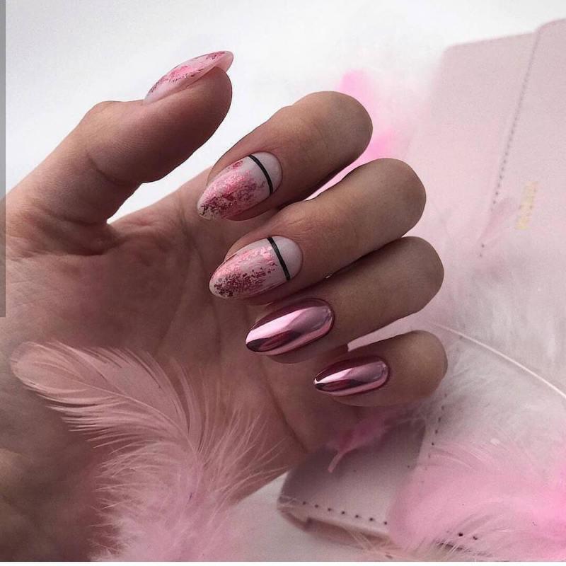 маникюр розовое золото фото_21