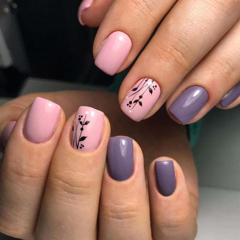 черно-розовый маникюр 2019 фото_14