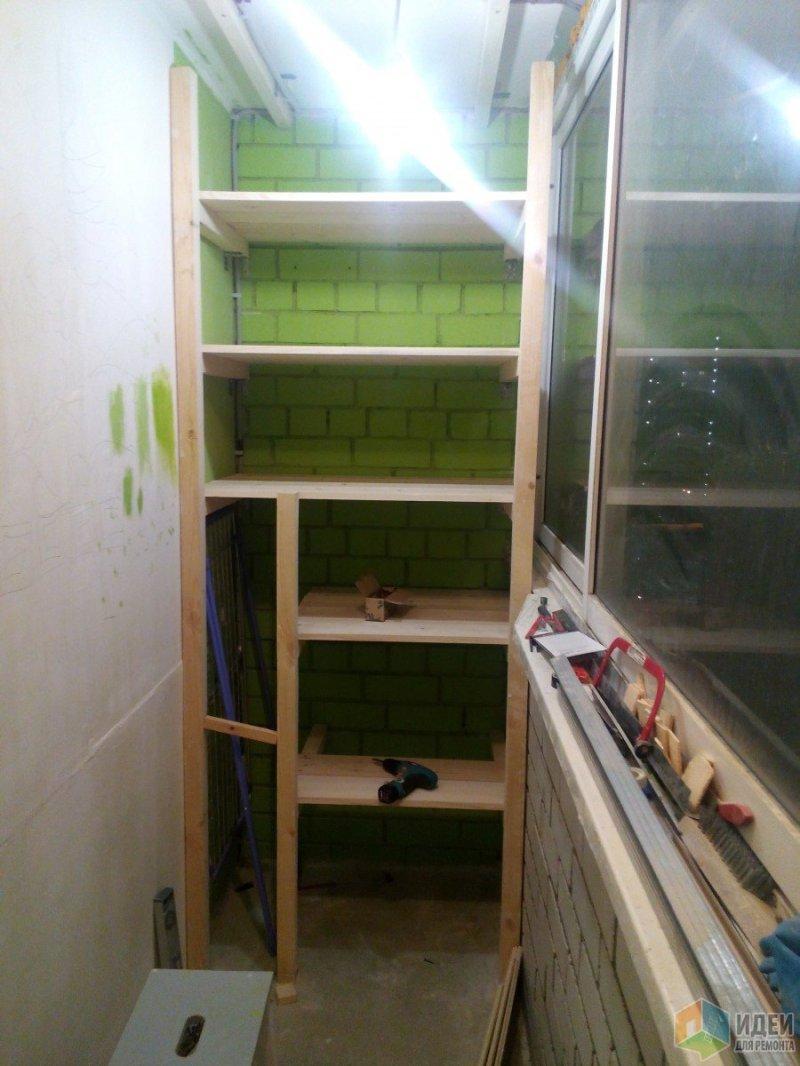 Конструкция стеллажа с узким отделением под сушилку