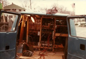 Old blue van tricked out as WKTV's first remote truck.