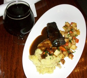 Bar Divani's Braised Short Ribs, Bourbon Glazed Root Vegetables, Red Dragon Cheddar Mashed Potatoes paired with New Holland's Dragon's Milk.