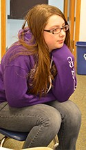 Aryonna Mullins listens during a Restorative Circle