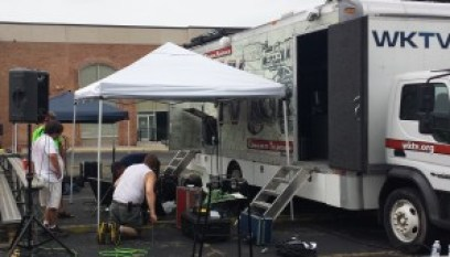 "WKTV staff members set up Thursday afternoon for Friday's WKTV's ""Metro Cruise Live on the Concourse"" production open to the public. Show starts at 8 p.m. come early for a seat in the bleachers!"