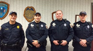 Former and current members of the K-9 Unit. (Left to right: Sergeant Jeff Bylsma,