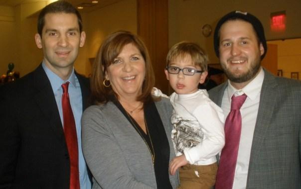 From left to right: Eric Van Duren (son), Barbara Van Duren, Elliott Van Duren (Grandson, 3), Kevin Van Duren (son)