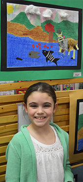 "While presenting her artwork, third-grader Abby Kramer said ""I am proactive and have a plan"""