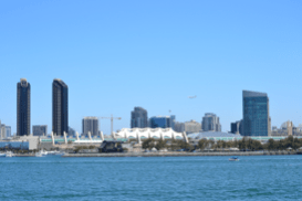 This is the beautiful San Diego skyline with the convention center right in front, the big white building where Comic-Con is held every year.