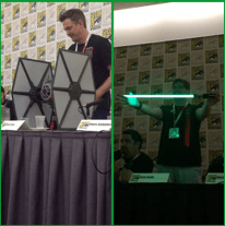 Left: Tie Fighter  Right: the new ForecFX Lightsaber