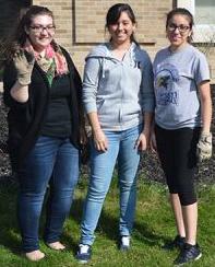 From left, Students Enida Jahaj, Juana De La Cruz, and Vanessa Flores