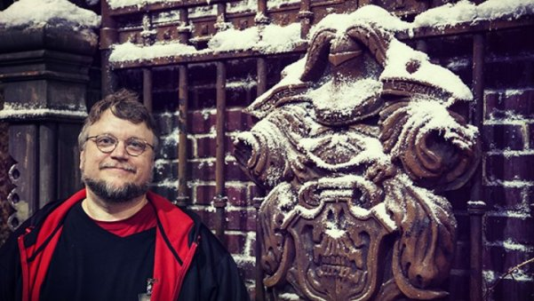 Director Guillermo del Toro shows off the set of Crimson Peak.