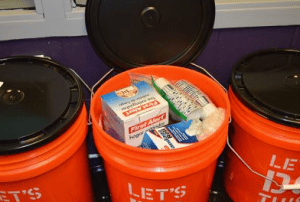 Emergency buckets are stocked with items for classrooms to use in the events of a long-term shutdown