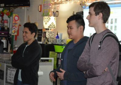 Seniors Luis Rodriguez, Tan Le and Joey Timm tell students to stop procrastinating