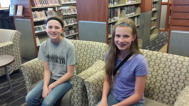 Alesha (left) and Melissa Steele stay active during Summer Reading Month