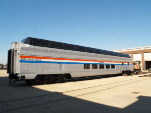 "Amtrak's Great Dome car 100391 ""Ocean View"" will be available on the Pere Marquette through July."